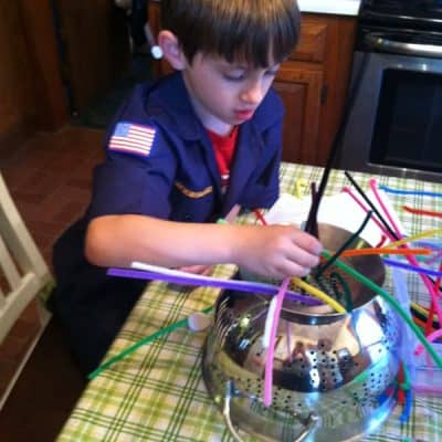 Pipe Cleaners and a Colander!