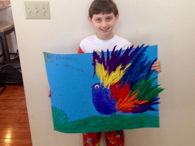 little boy holding a poster of a bird with colorful feathers