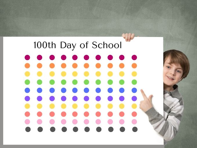 boy with poster with 100 dots of multiple colors