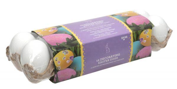 A dozen white plastic eggs for Easter