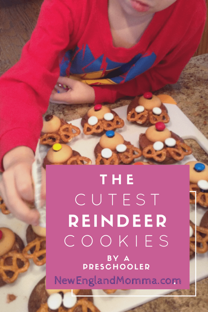 Homemade reindeer cookies made with wafer cookies, pretzels and M&Ms.
