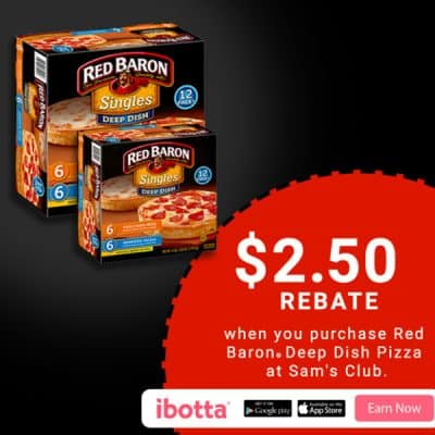 Craving a delicious, deep dish fix for dinner? When you buy Red Baron® Deep Dish Pizzas at Sam's Club, you will earn $2.50! *Offer available through 12/31/17.