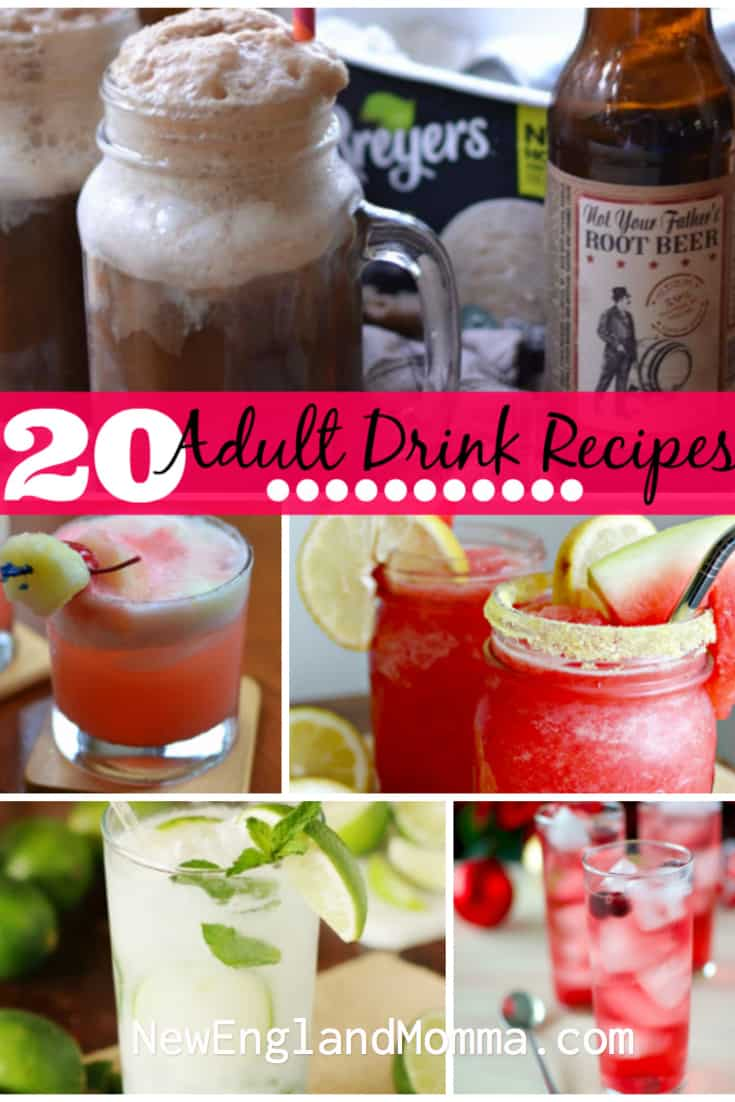 Raise your hand if you need a girls night in with some cocktails! Well I have you covered with 20 adult beverage recipes. From whiskey to vodka to root beer floats, this list has a drink for everyone.