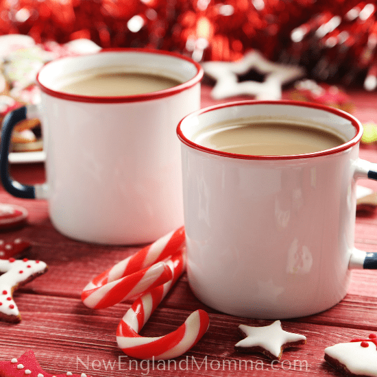 two mugs of coffee for friends at Christmas time