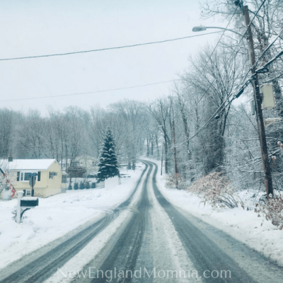a snow filled road in New England