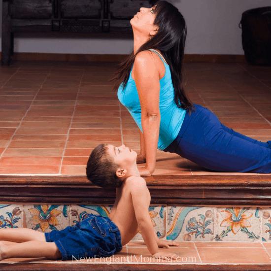 mom and son doing yoga together
