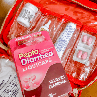 picture of Pepto Diarrhea Liquidcaps in a first aid kit