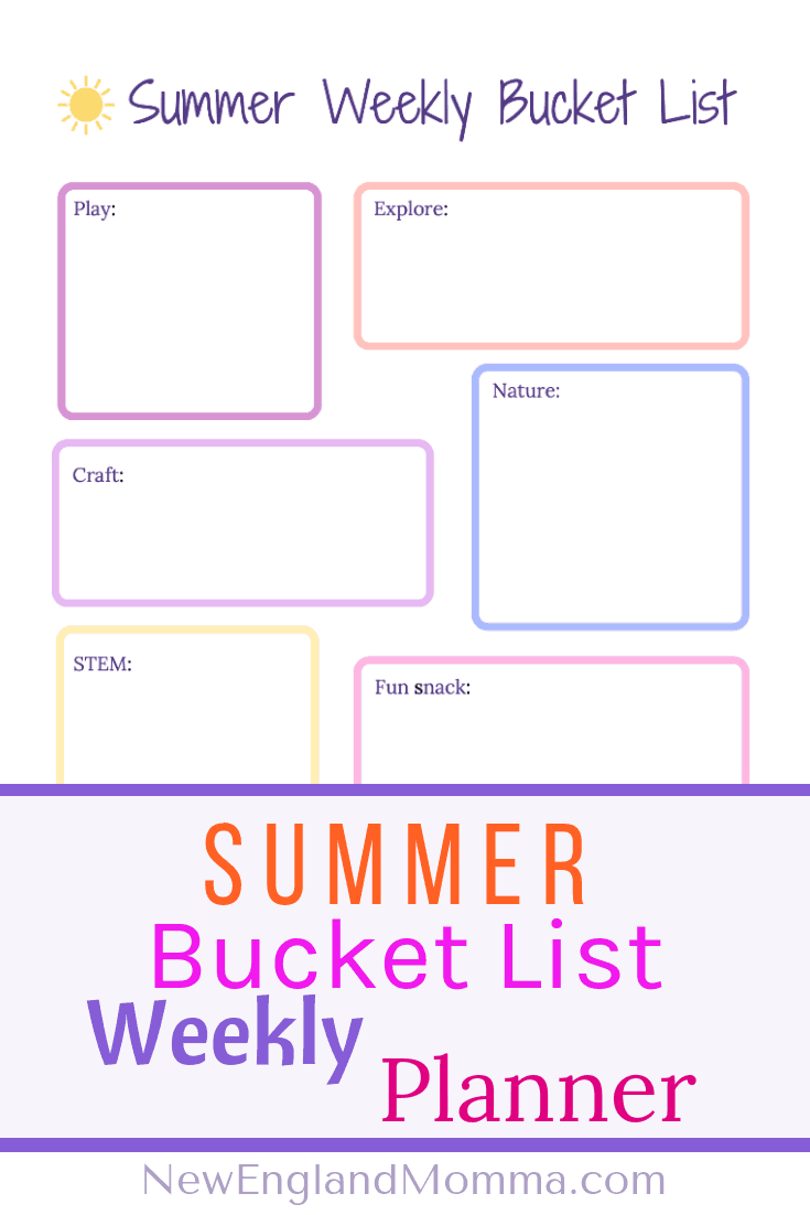 Summer Weekly Bucket List Printable