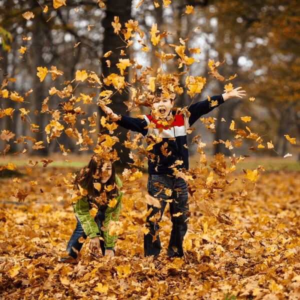 two boys playing in a pile of leaves
