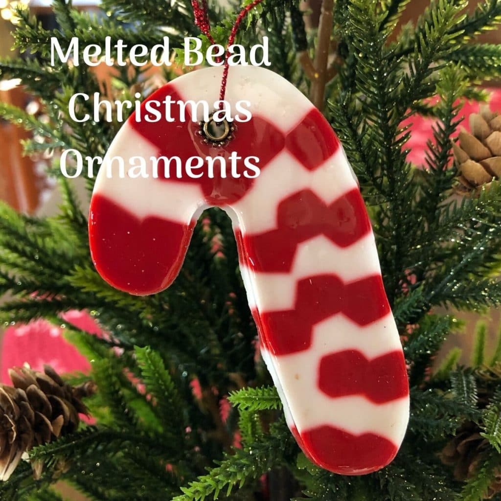 candy cane melted bead ornament on tree
