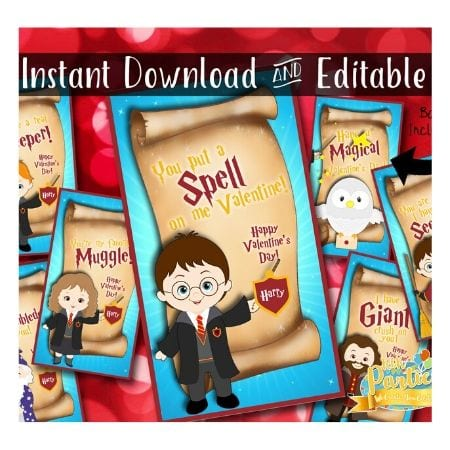 cartoon Harry Potter and friend valentines
