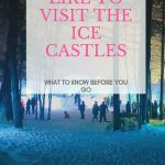 Ice castles in NH at evening with lots of snow and ice