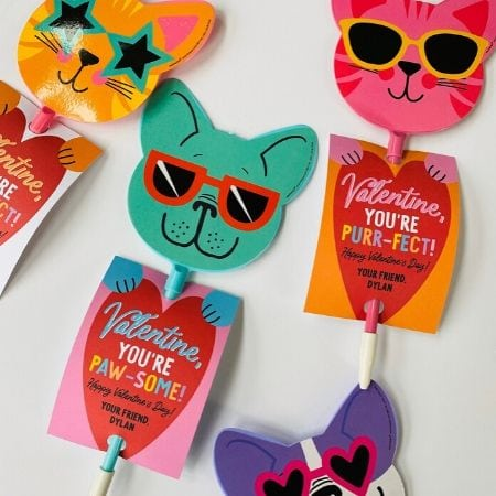 personalized cat valentines with sunglasses