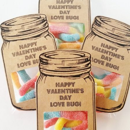Cute paper cut mason jars valentines with candy gummy insides