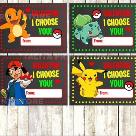 Pokemon characters in bright colors printed on paper valentines
