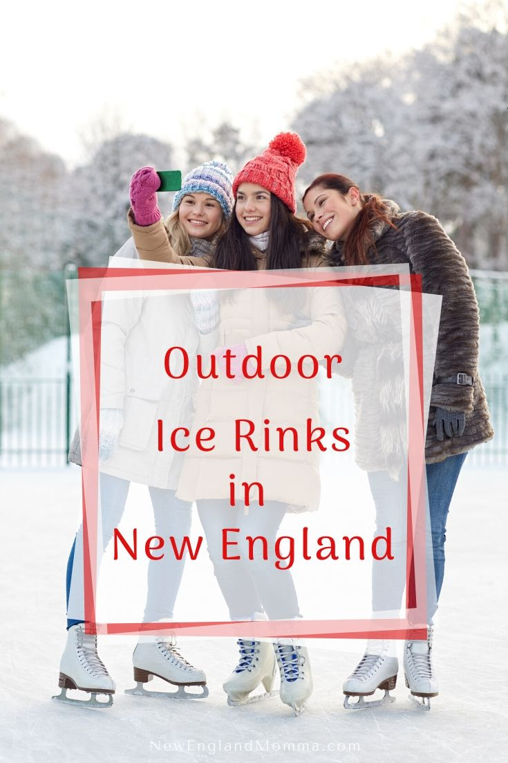 3 girls in winter colorful hats on ice skates taking a selfie