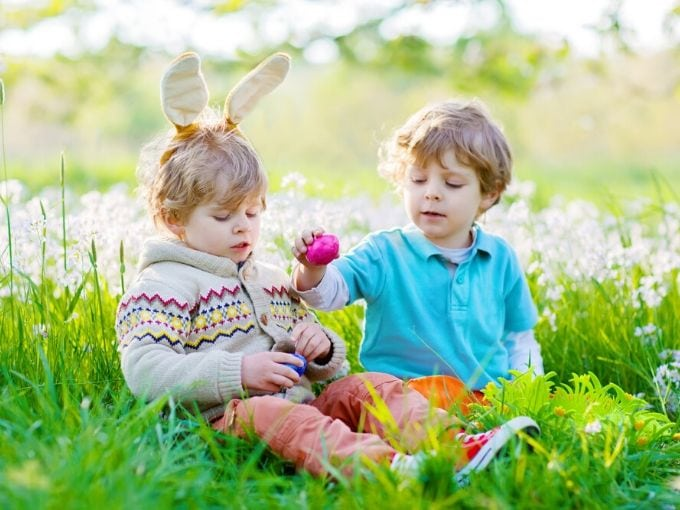 Two little boys sitting in the grass with flowers and color eggs