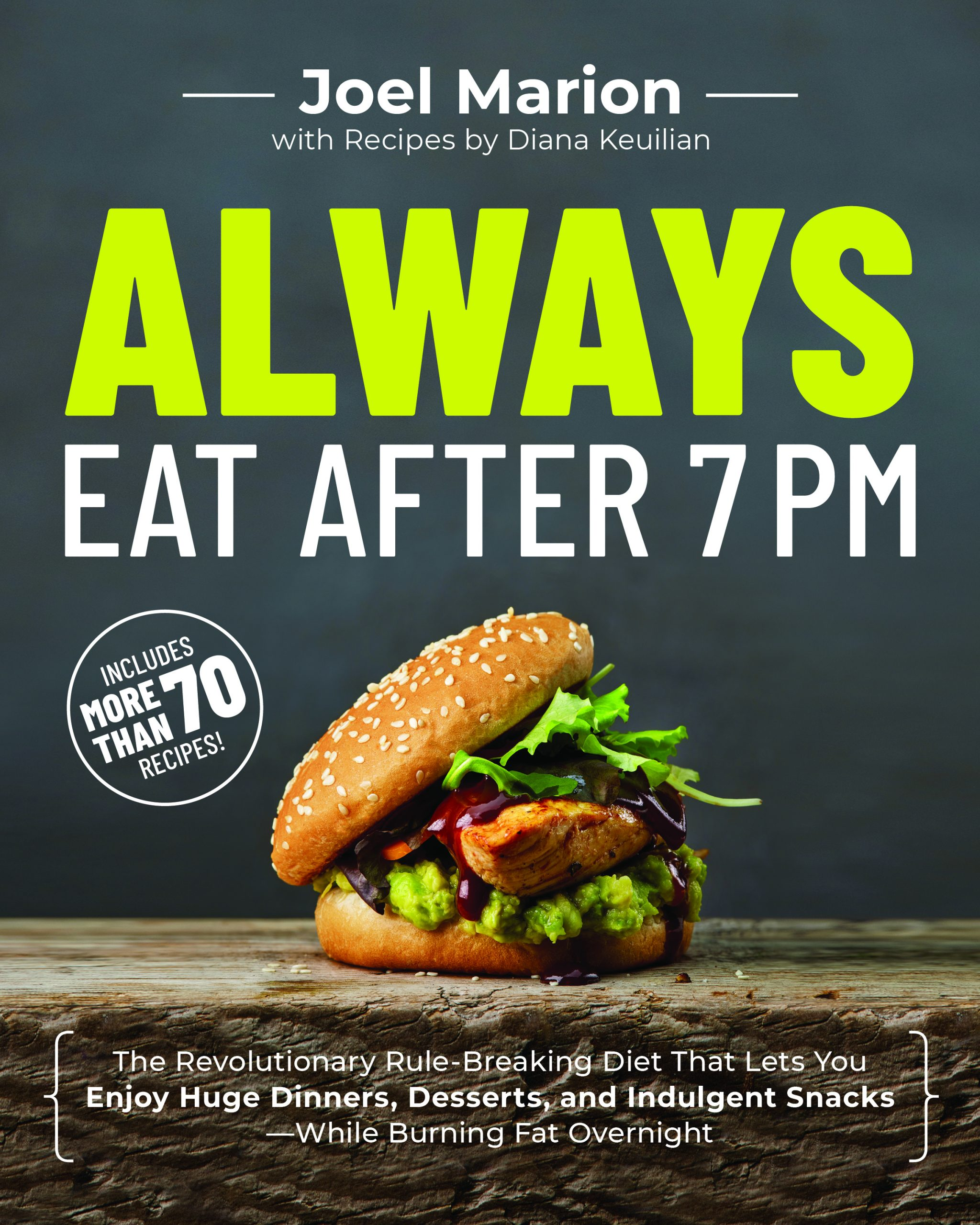 The Always Eat After 7PM book cover with a sandwich and the text ALWAYS Eat after 7pm