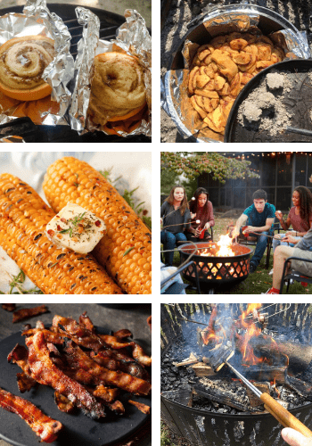 6 photos of various foods that can be cooked over a campfire
