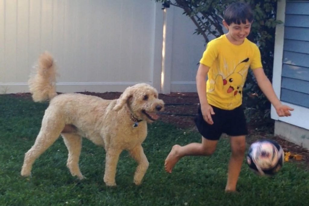 young boy playing soccer with his dog in the backyard