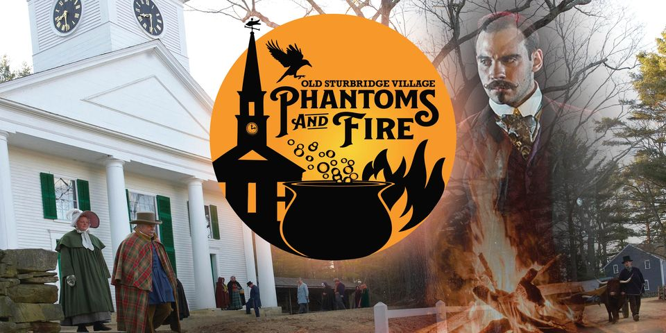 A white church and a logo from Old Sturbridge Village's Phantoms and Fire