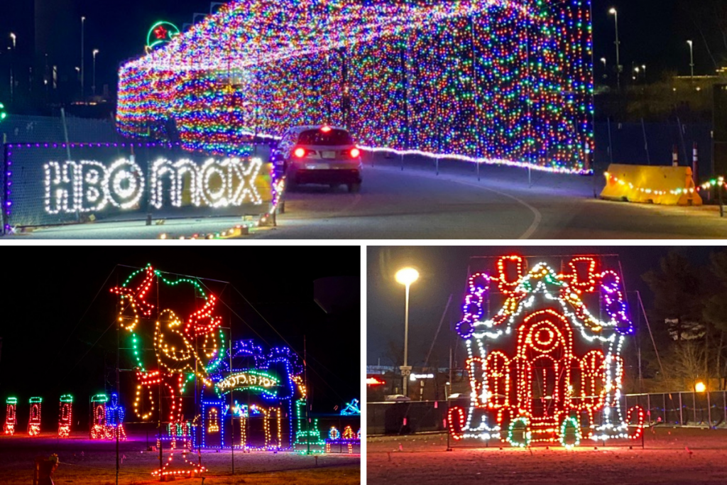 Three photos of large lit up multiple holiday lights at night.