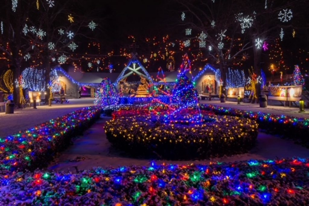La Salette Shrine with festive holiday lights and snowflakes