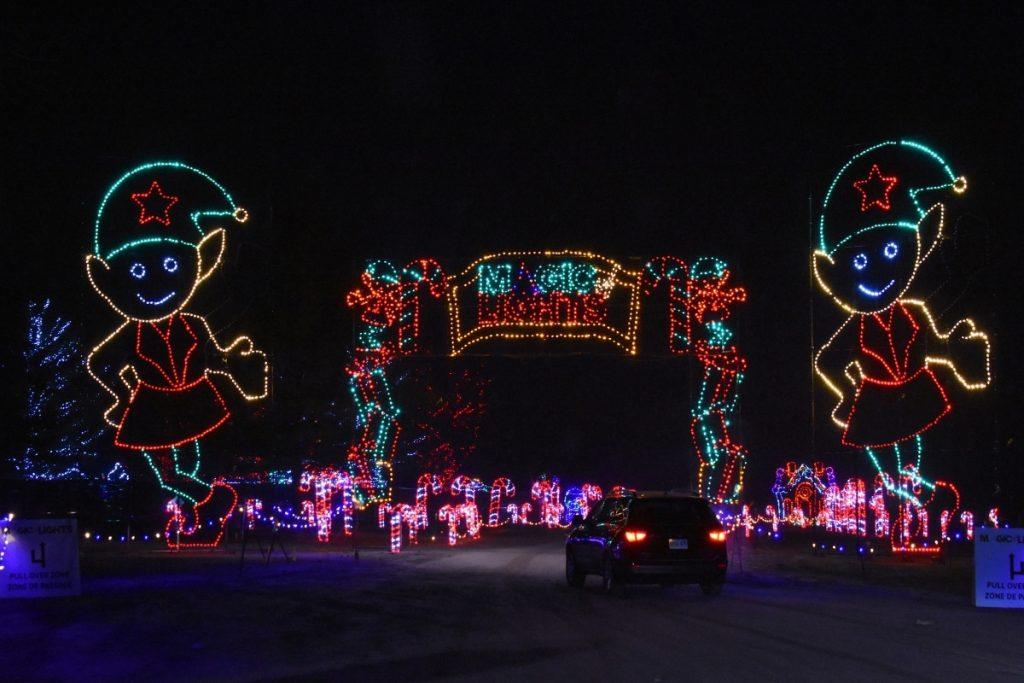 Christmas display at Magic of lights lit up at night
