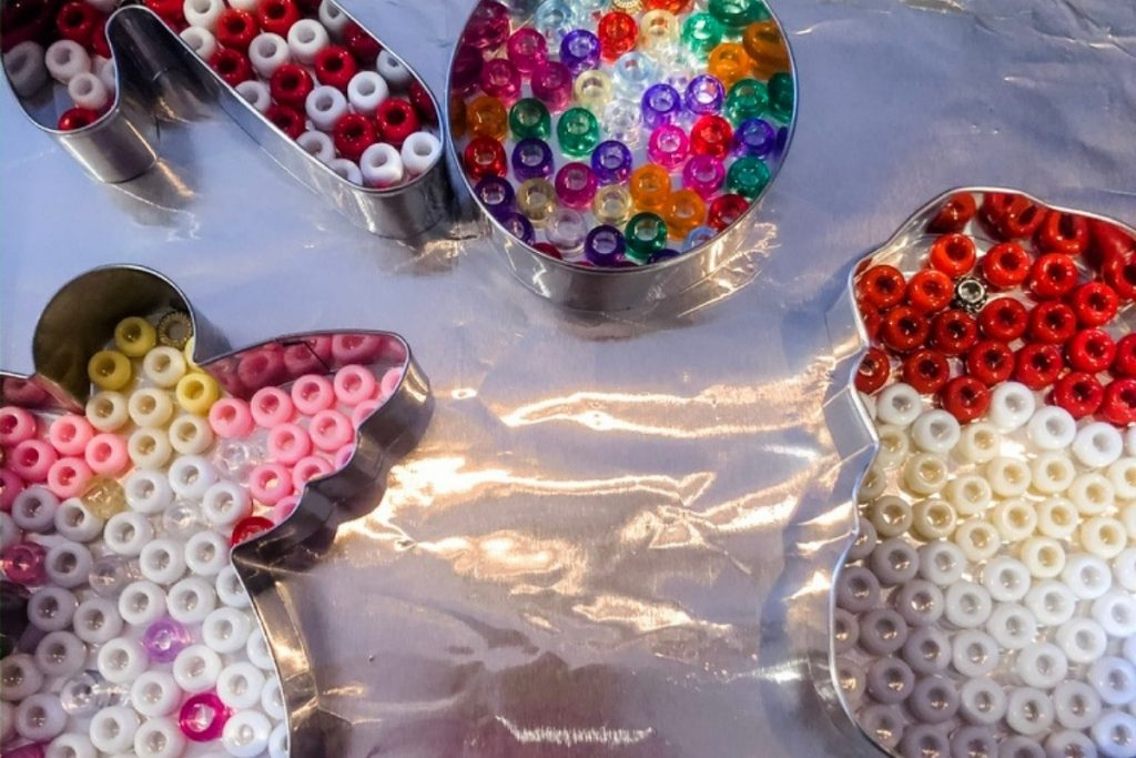 beaded ornaments in cookie cutters