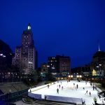 Ice rink in Providence, RI outdoors at night
